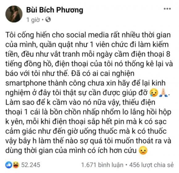 Bich Phuong len mang hoi fan lam the nao de cai nghien dien thoai