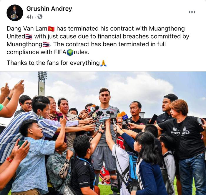Dang Van Lam co the bi cam thi dau khi roi Muangthong United