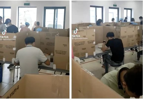 Cong ty o Hai Duong lay bia carton ngan chan COVID-19