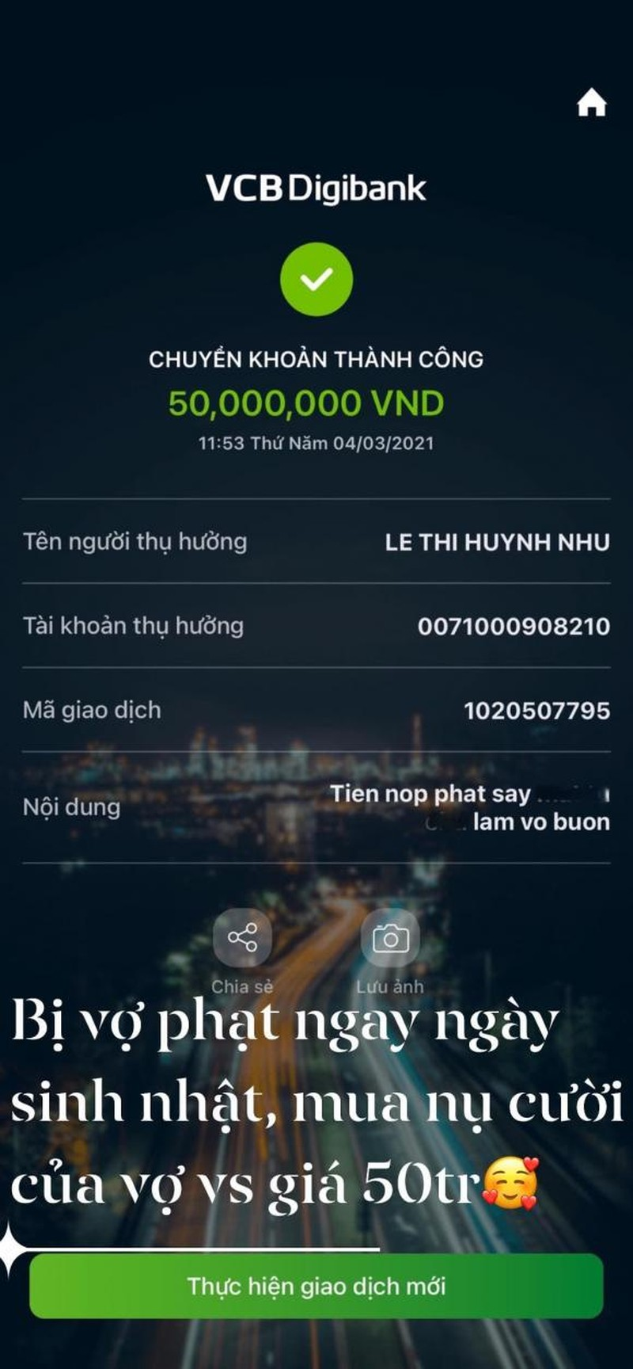Khanh Don phai chuyen khoan cho vo 50 trieu tien phat vi say-Hinh-2