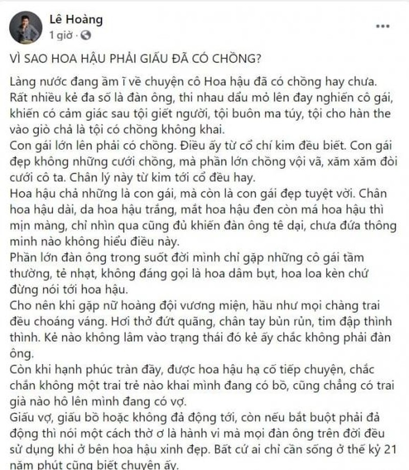 Dao dien Le Hoang ban ve viec