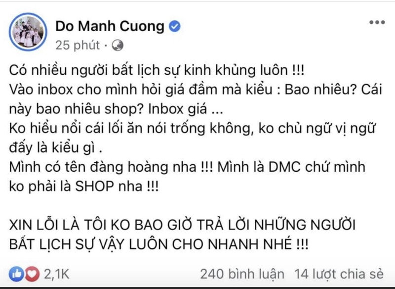 "NTK Do Manh Cuong bi chi trich vi thai do ""chanh choe"""