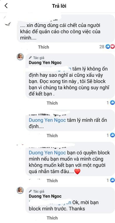 Duong Yen Ngoc noi doa khi bi mang