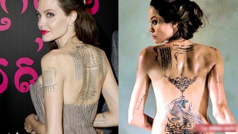 Y nghia cua gan 20 hinh xam tren co the Angelina Jolie