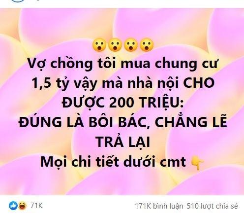 Nang dau che ben noi boi bac vi mua nha 1,5 ty chi cho 200 trieu