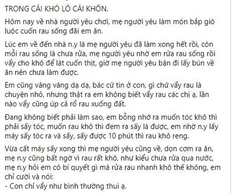 Me chong thu tai vay rau, con dau nhanh tri hong kho bang may say