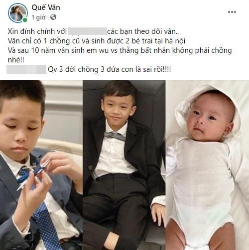 Que Van dinh chinh tin 3 doi chong, moi chong de 1 con