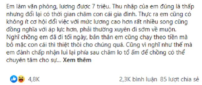 Chong coi thuong noi vo di lam khong bang luong giup viec