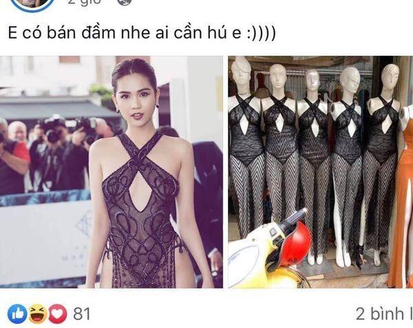 Vay phan cam cua Ngoc Trinh tai Cannes duoc nhai va ban tren mang-Hinh-2
