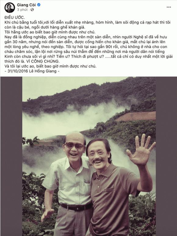 Nghen ngao loi tien biet NS Giang Coi gui den NS Pham Bang