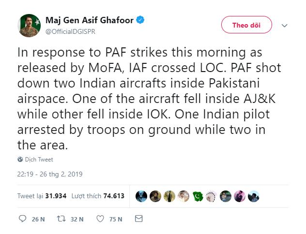 Nong: Pakistan ban roi chien dau co An Do, bat song phi cong