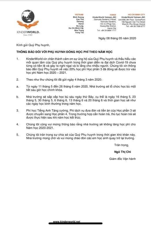 Phu huynh truong QT Singapore phan doi viec thu hoc phi day online