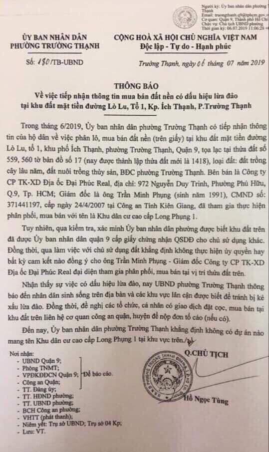 Canh bao 2 du an bat dong san co dau hieu lua dao o Sai Gon
