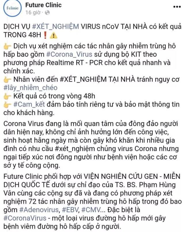 Phong kham Future Clinic quang cao dich vu xet nghiem virus corona tai nha, So Y te vao cuoc