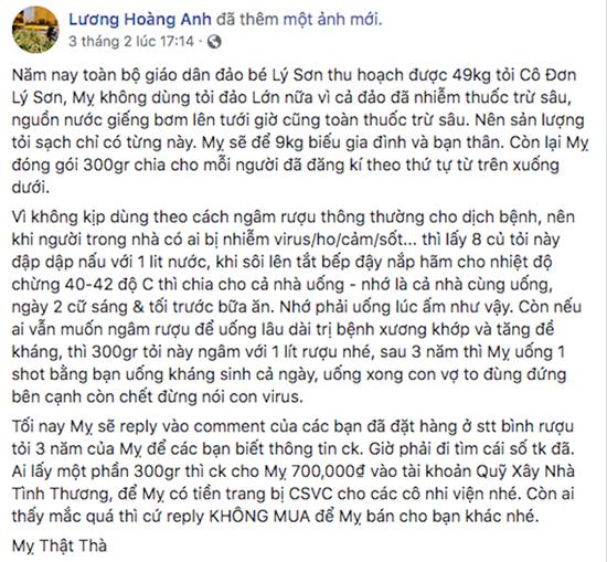 Facebook Luong Hoang Anh tung tin sai ve toi Ly Son bi phat nang