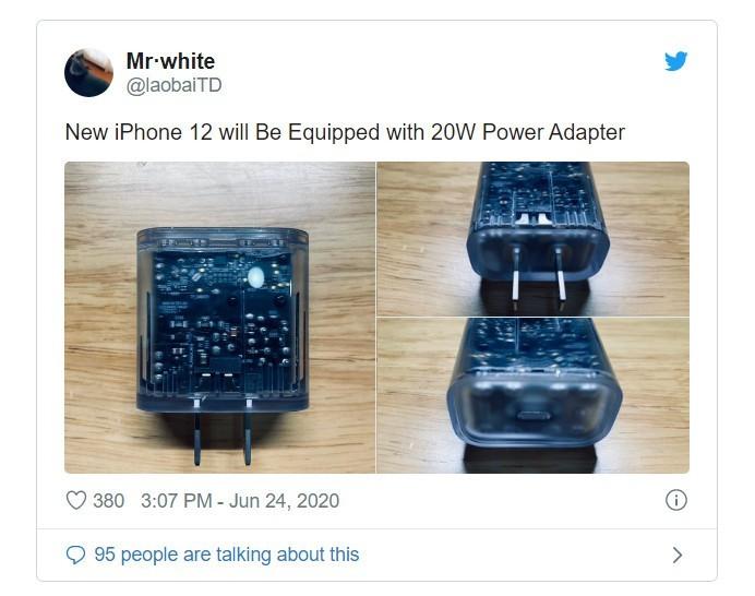 iPhone 12 co the duoc tang kem bo sac nhanh 20W