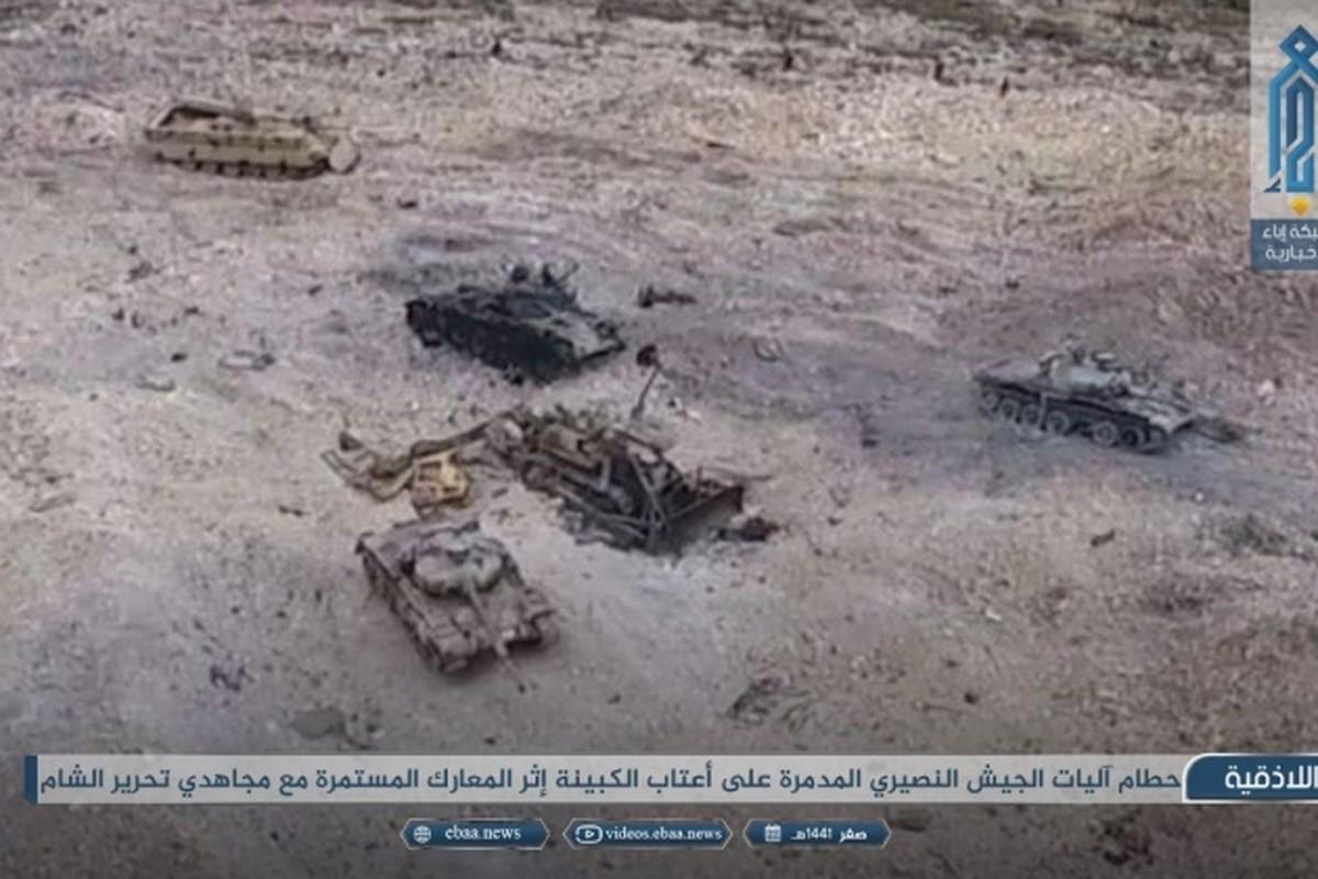 Xe tang T-62M cua Nga tan tanh o chien truong Idlib, Latakia