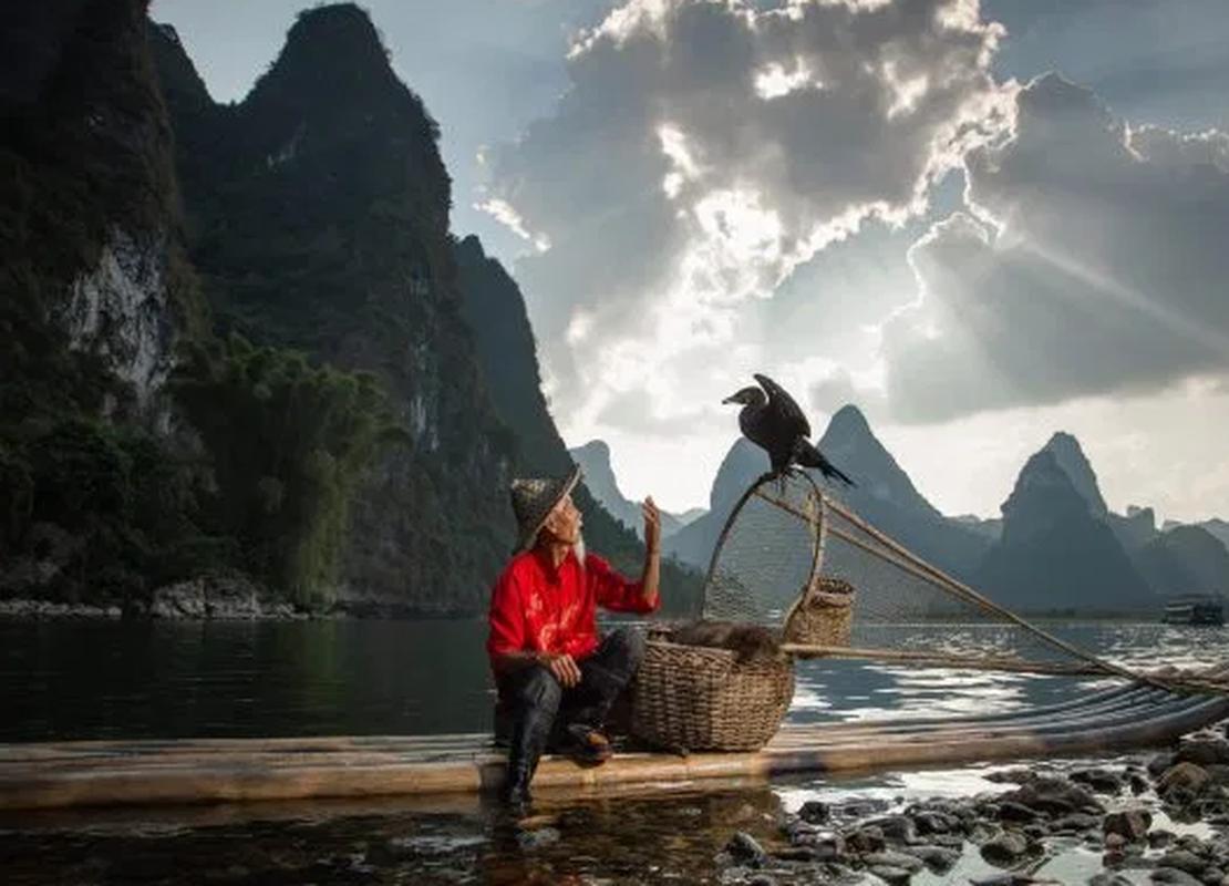 Ngoan muc canh ngu dan Trung Quoc danh ca bang chim coc dep nhu tranh ve-Hinh-4
