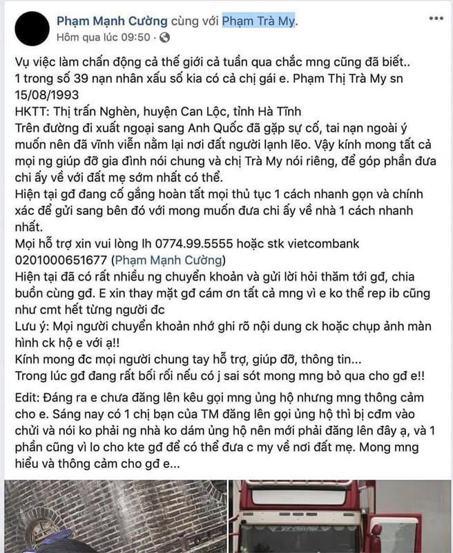 Co gai Ha Tinh nghi chet trong container o Anh: Em trai giai thich vu quyen gop-Hinh-2