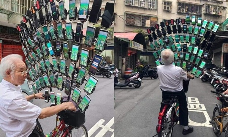 """Can canh """"sieu xe"""" cua cu ong gan gan 70 smartphone choi Pokemon Go"""