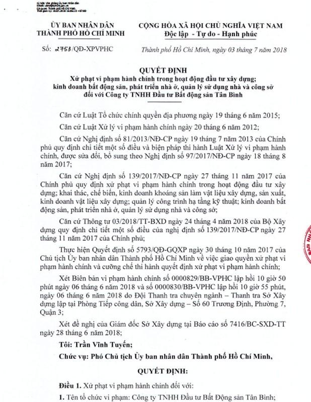 """Chi tiet du an Tan Binh Apartment bi phat """"khung"""""""