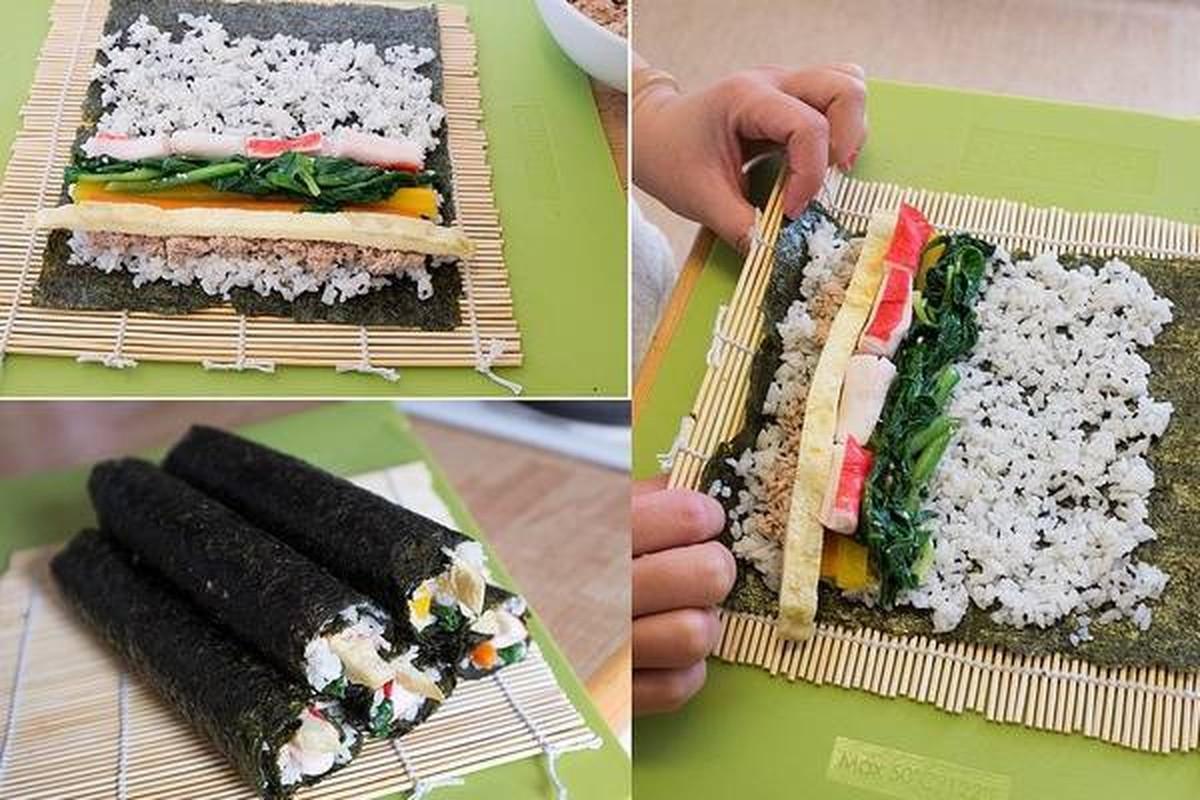 """4 cach lam com cuon """"an dut"""" sushi Nhat Ban-Hinh-3"""