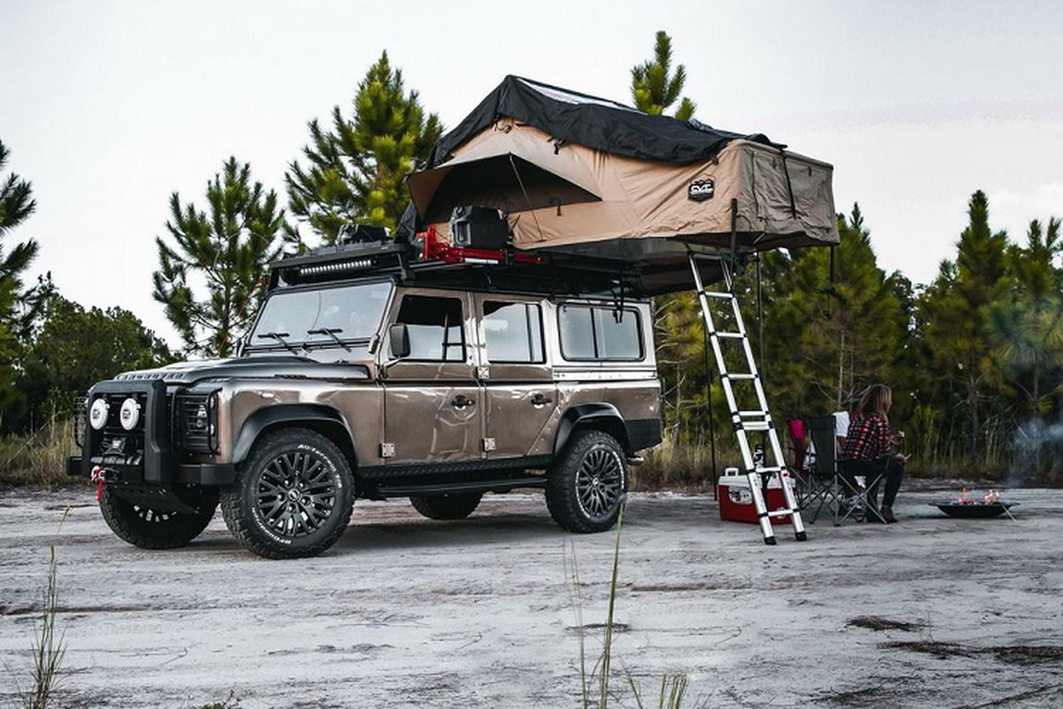 Ngam xe Land Rover Defender ECD do khung cho dan phuot