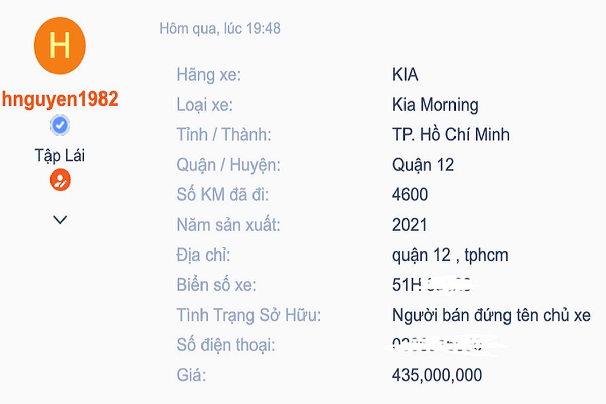Kia Morning 2021 dau tien tai Viet Nam len san xe cu Sai Gon-Hinh-2
