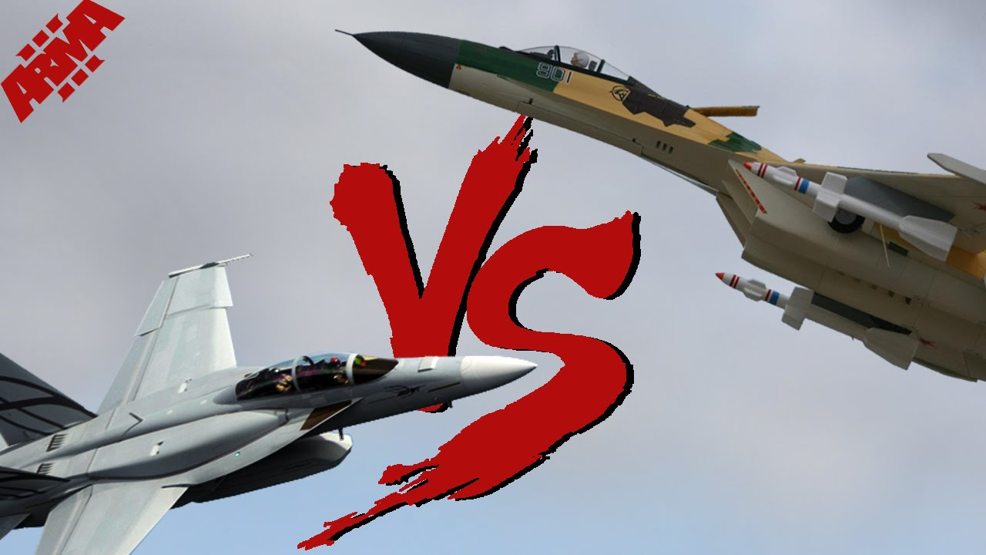 Khi F/A-18E/F Super Hornet cua My dau voi Su-30 cua Nga
