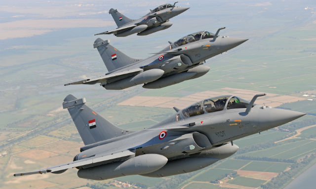 Egyptian Air Force Rafale flying in formation