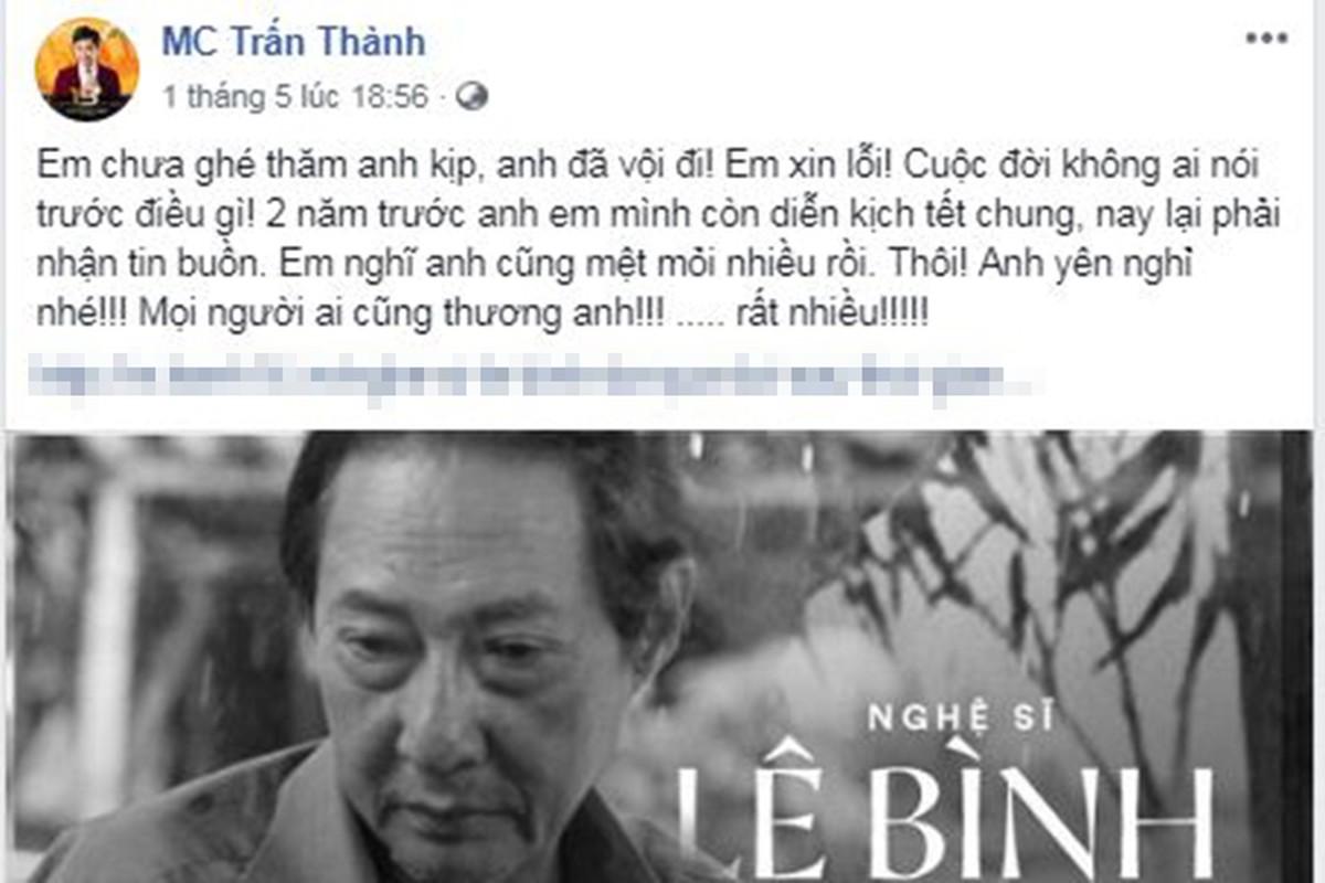 Tran Thanh noi ly do khong vao tham NS Le Binh luc nam vien