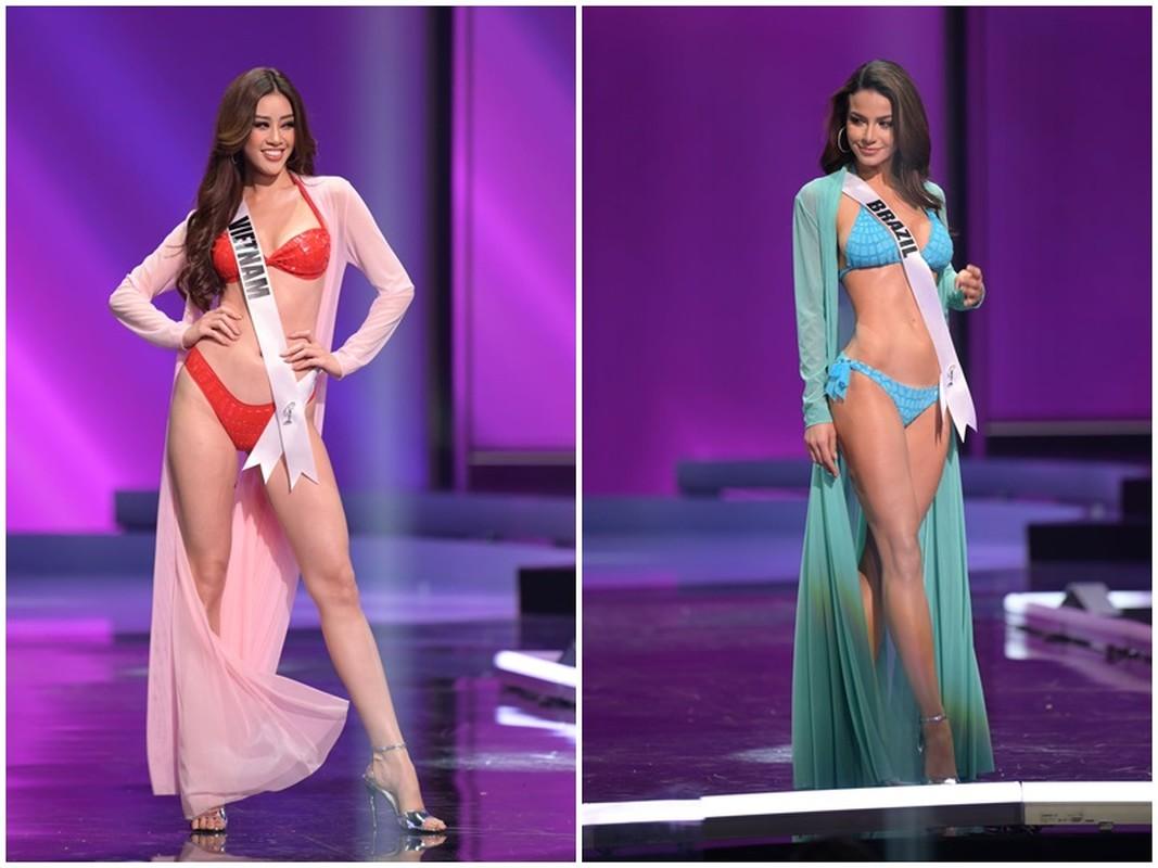 Thi sinh Miss Universe dien bikini khoe than hinh boc lua o ban ket