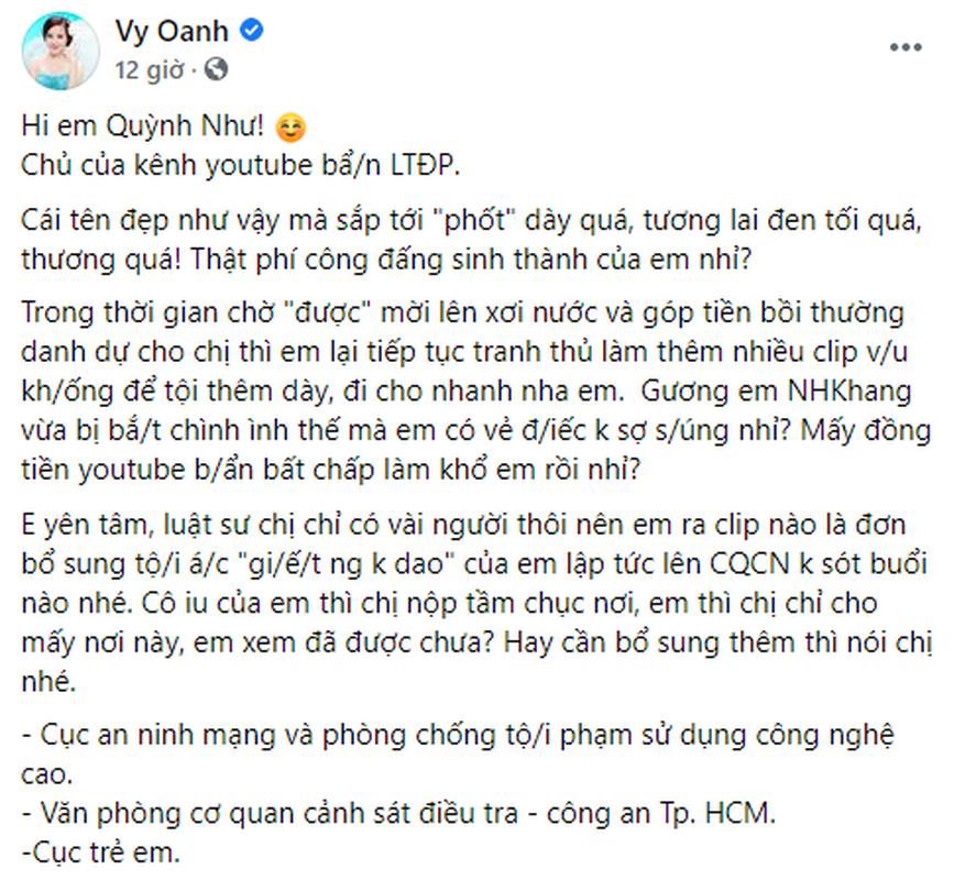Vy Oanh reo ten Nham Hoang Khang de canh cao mot Youtuber-Hinh-2