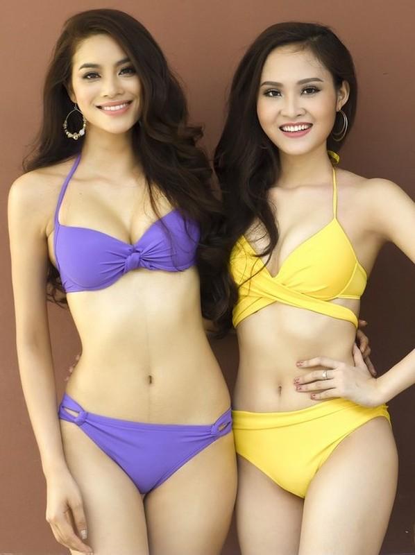 Thi sinh Hoa hau Hoan vu Viet Nam khoe dang voi bikini