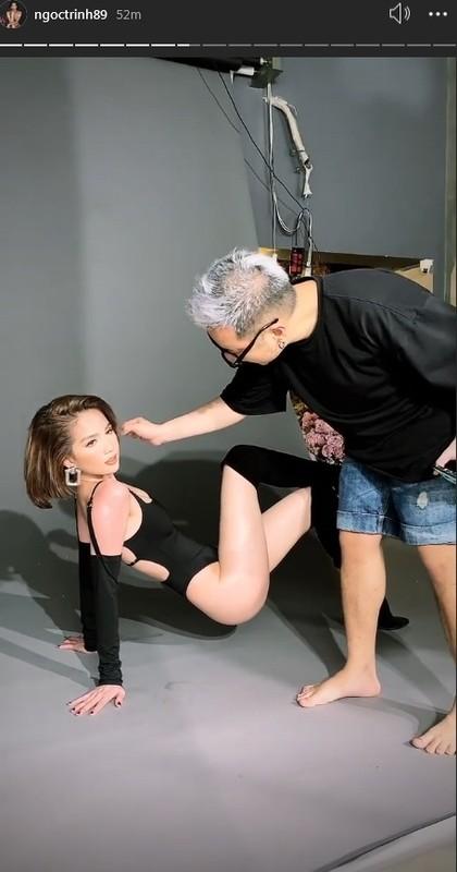 Chung Thanh Phong vo tu so vung nhay cam Ngoc Trinh o hau truong chup anh-Hinh-2