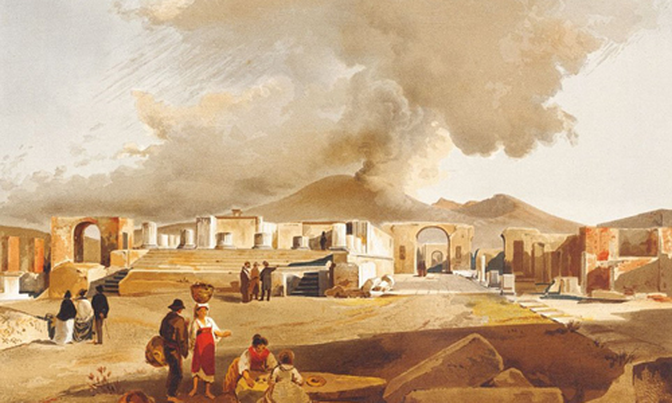 Tranh ve thanh pho Pompeii truoc khi bi nui lua chon vui