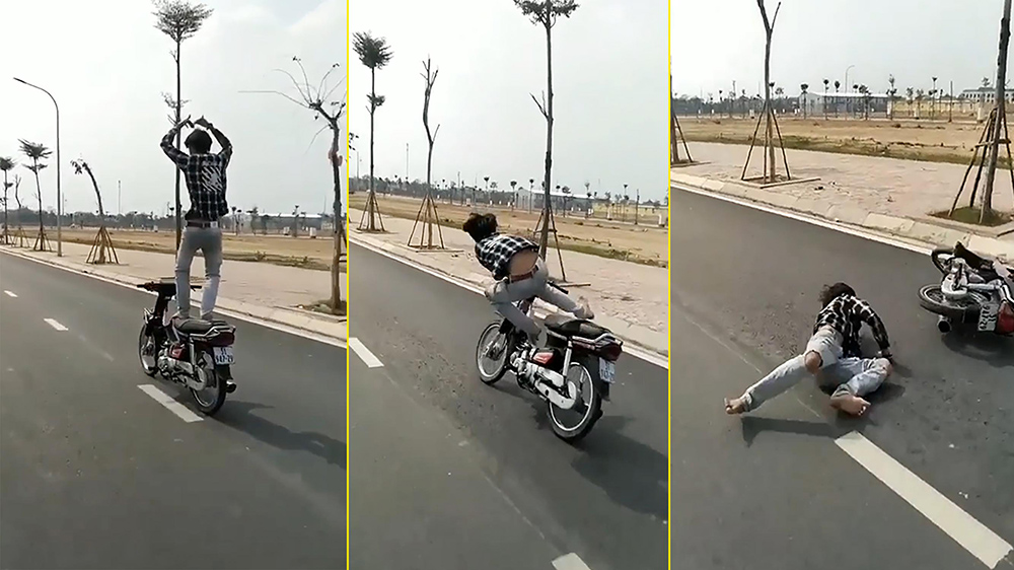 """""""Làm xiếc"""" trên xe máy, nam thanh niên nhận cái kết đau điếng"""