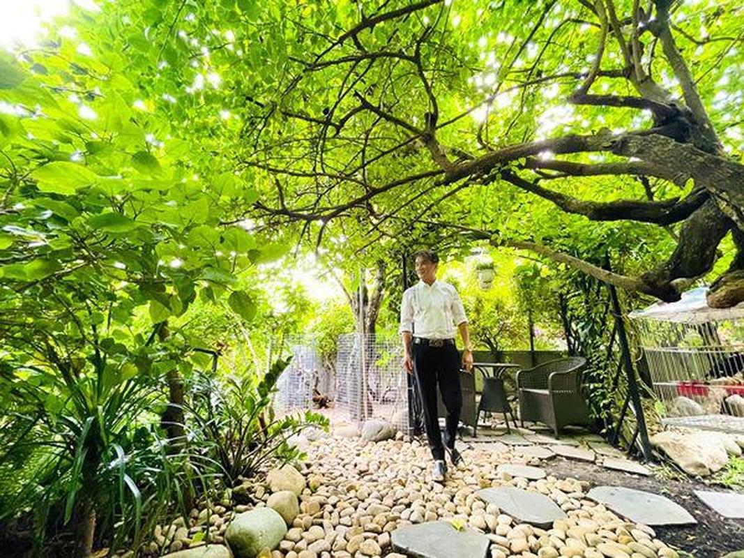 Man nhan vuon rau xanh muot trong biet thu 60 ty cua Dam Vinh Hung