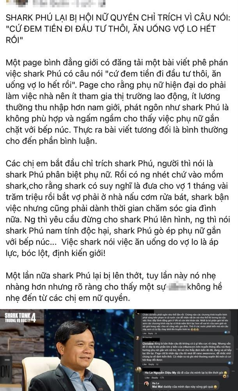 Shark Phu phat ngon gi lam netizen ban tan ve
