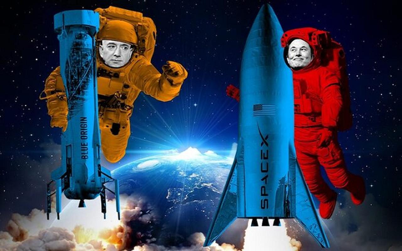 """Jeff Bezos va Elon Musk dang """"chay dua vu tru"""" vo cung gay can"""