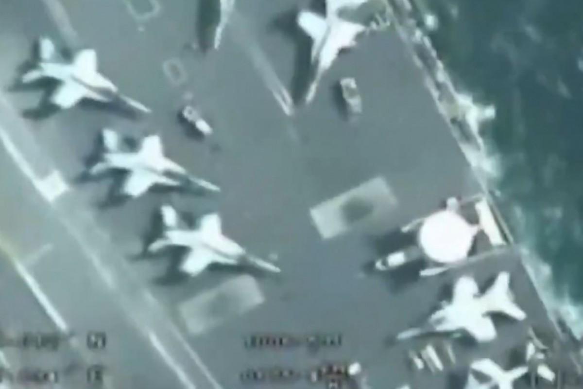 UAV Iran bay tren dau quay phim, tau san bay My khong hay biet