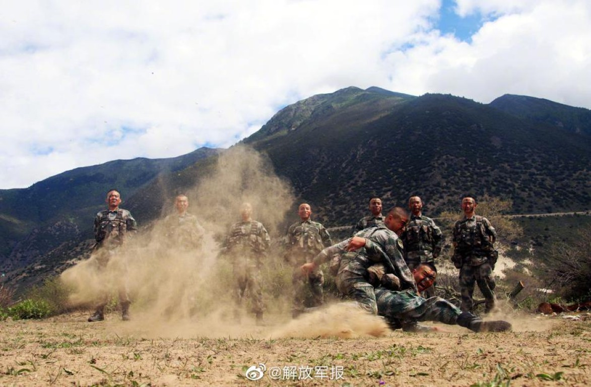 PLA soldiers hand to hand combat training in high altitude